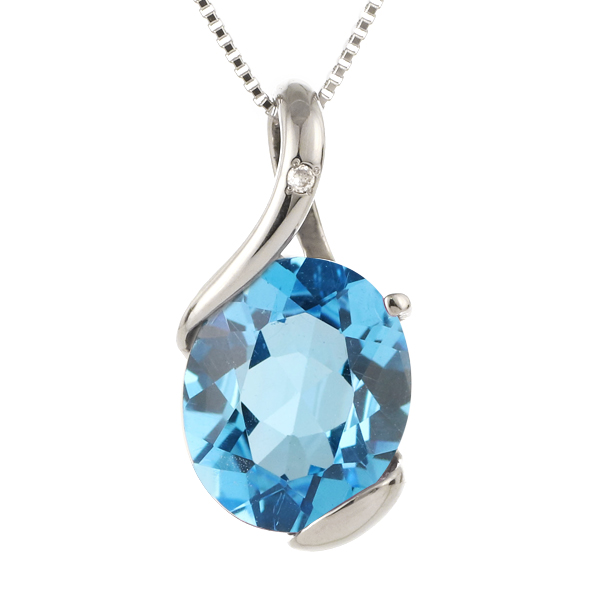 ネックレス レディース 天然石 ブルートパーズ ダイヤモンド プラチナ ネックレス 11月 誕生石