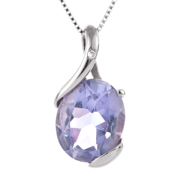 ネックレス レディース 天然石 タンザナイト ダイヤモンド プラチナ ネックレス 12月 誕生石