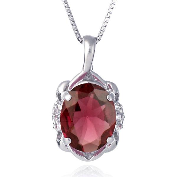 ネックレス レディース 天然石 ガーネット ダイヤモンド プラチナ ネックレス 1月 誕生石