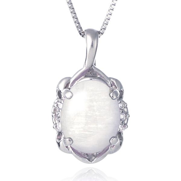 ネックレス レディース 天然石 ムーンストーン ダイヤモンド プラチナ ネックレス 6月 誕生石