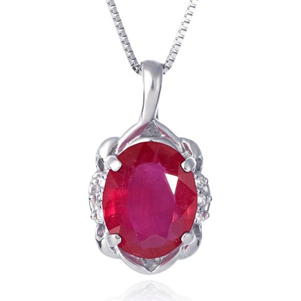 ネックレス レディース 天然石 ルビー ダイヤモンド プラチナ ネックレス 7月 誕生石