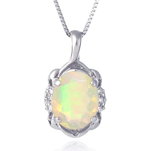 ネックレス レディース 天然石 オパール ダイヤモンド プラチナ ネックレス 10月 誕生石