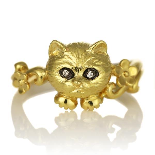 K18 イエローゴールド ダイヤモンド 猫 リング