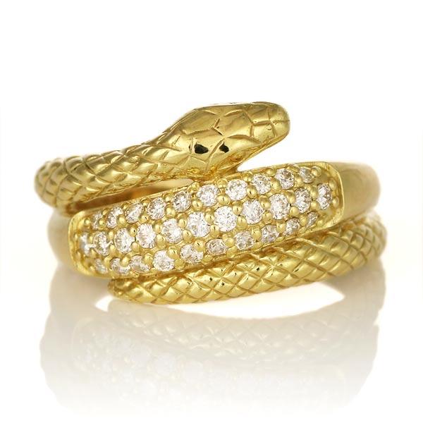 K18 イエローゴールド ダイヤモンド 蛇 リング