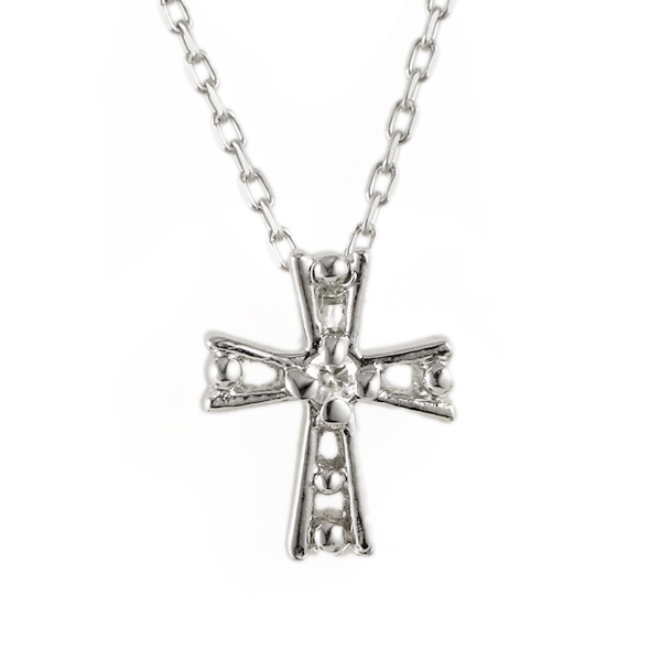 ダイヤモンド ネックレス クロス ホワイトゴールド ネックレス 【DEAL】 末広 スーパーSALE