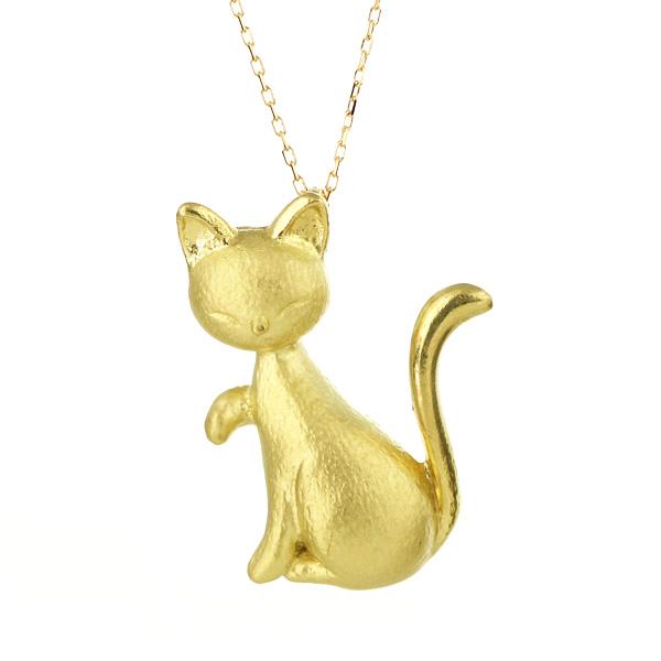 K18 イエローゴールド 地金 猫 ネックレス