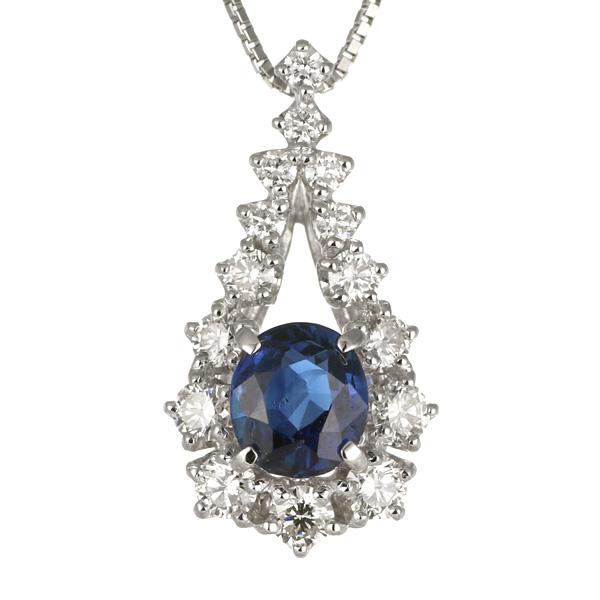 ネックレス レディース サファイア ダイヤモンド プラチナ ネックレス