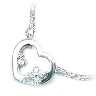 ( 4月誕生石 ) K18WG ダイヤモンドブレスレット(ハートモチーフ)