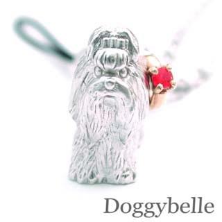 ルビー ( 7月誕生石 ) プラチナ K10ルビー入り携帯ストラップ(シーズー) 犬