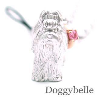 ピンクトルマリン ( 10月誕生石 ) プラチナ K10ピンクトルマリン入り携帯ストラップ(シーズー) 犬
