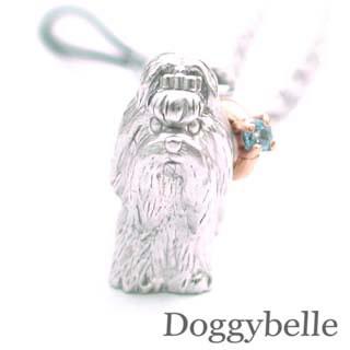 ブルートパーズ ネックレス ( 11月誕生石 ) プラチナ K10ブルートパーズ入り携帯ストラップ(シーズー) 犬