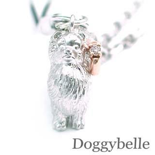 ( 4月誕生石 ) SV K10ダイヤモンド入り携帯ストラップ(ポメラニアン) 犬