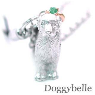 エメラルド ( 5月誕生石 ) プラチナ K10エメラルド入り携帯ストラップ(ゴールデンレトリバー) 犬