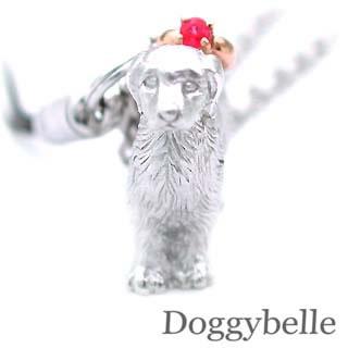 ルビー ( 7月誕生石 ) プラチナ K10ルビー入り携帯ストラップ(ゴールデンレトリバー) 犬