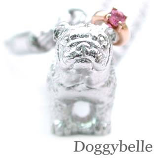 ピンクトルマリン ( 10月誕生石 ) プラチナ K10ピンクトルマリン入り携帯ストラップ(ブルドッグ) 犬