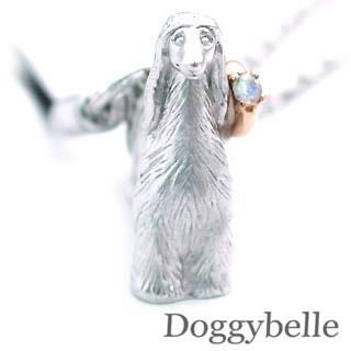 ムーンストーン ( 6月誕生石 ) プラチナ K10ムーンストーン入り携帯ストラップ(アフガンハウンド) 犬