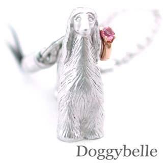 ピンクトルマリン ( 10月誕生石 ) プラチナ K10ピンクトルマリン入り携帯ストラップ(アフガンハウンド) 犬