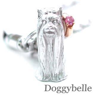 ピンクトルマリン ( 10月誕生石 ) プラチナ K10ピンクトルマリン入り携帯ストラップ(ヨークシャーテリア) 犬