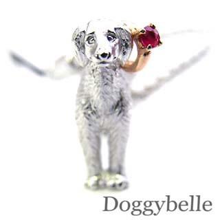 ルビー ( 7月誕生石 ) プラチナ K10ルビー入り携帯ストラップ(サルーキー) 犬