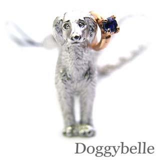 サファイア ( 9月誕生石 ) プラチナ K10サファイア入り携帯ストラップ(サルーキー) 犬