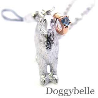 ブルートパーズ ネックレス ( 11月誕生石 ) プラチナ K10ブルートパーズ入り携帯ストラップ(ボルゾイ) 犬