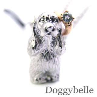 アクアマリン ( 3月誕生石 ) プラチナ K10アクアマリン入り携帯ストラップ(アメリカン・コッカー・スパニエル) 犬