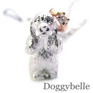 ( 4月誕生石 ) SV K10ダイヤモンド入り携帯ストラップ(アメリカン・コッカー・スパニエル) 犬
