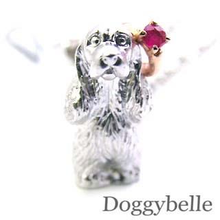 ルビー ( 7月誕生石 ) プラチナ K10ルビー入り携帯ストラップ(アメリカン・コッカー・スパニエル) 犬