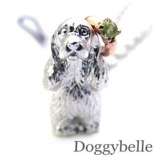 ペリドット ネックレス ( 8月誕生石 ) プラチナ K10ペリドット入り携帯ストラップ(アメリカン・コッカー・スパニエル) 犬
