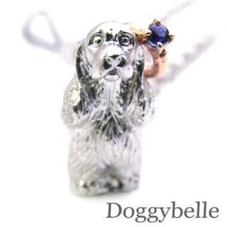 サファイア ( 9月誕生石 ) プラチナ K10サファイア入り携帯ストラップ(アメリカン・コッカー・スパニエル) 犬