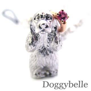 ピンクトルマリン ( 10月誕生石 ) プラチナ K10ピンクトルマリン入り携帯ストラップ(アメリカン・コッカー・スパニエル) 犬