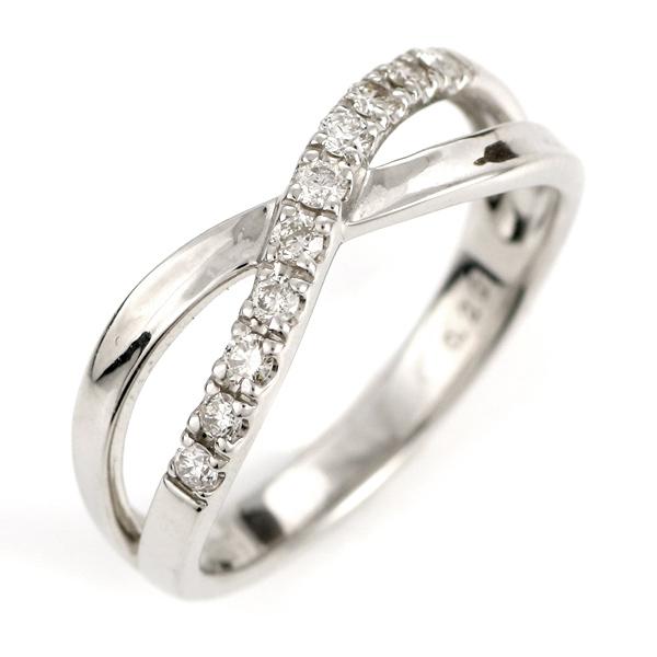 ダイヤモンドリング プラチナ エタニティ クロス リング 指輪 0.2カラット ウエーブ ギフト プレゼント 結婚記念