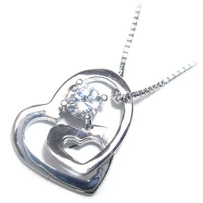 ( 4月誕生石 ) K18ホワイトゴールドダイヤモンドペンダントネックレス(ハートモチーフ)