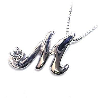 ダイヤモンド ダイヤ 「M」イニシャルモチーフ( 4月誕生石 )K10WG ダイヤモンド ペンダント ネックレス CanCam掲載