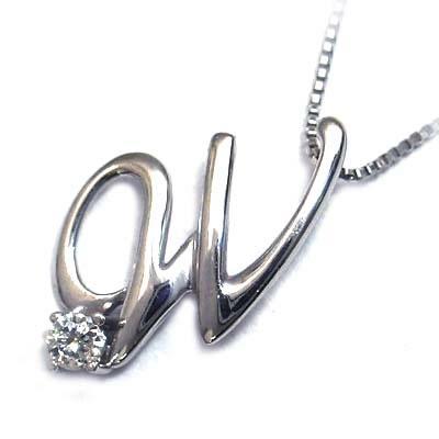 イニシャル 「W」イニシャルモチーフ( 4月誕生石 )K10WG ダイヤモンドペンダントネックレスCanCam掲載