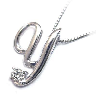 イニシャル 「Y」イニシャルモチーフ( 4月誕生石 )K10WG ダイヤモンドペンダントネックレスCanCam掲載
