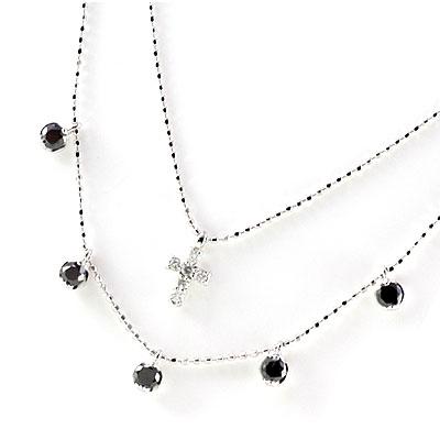 ( 4月誕生石 ) K18ホワイトゴールド ブラックダイヤモンドペンダントネックレス【DEAL】