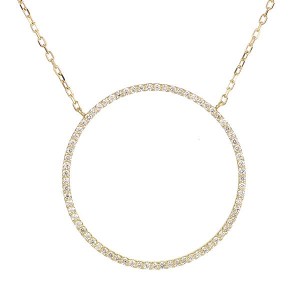 パヴェダイヤ ダイヤモンド ネックレス 18金 サークル