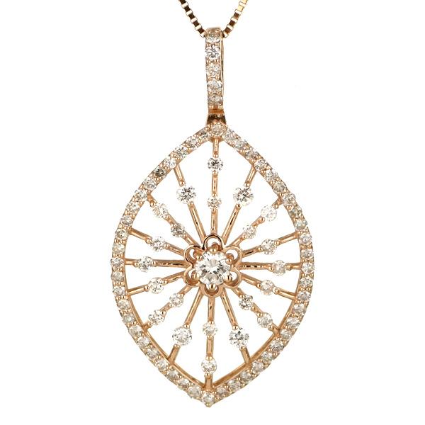 ダイヤモンド ネックレス パヴェダイヤ 18金 ピンクゴールド