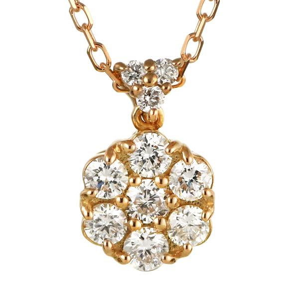 ダイヤモンド ネックレス パヴェ スイート エタニティ 10個のダイヤモンド 結婚10周年 18金