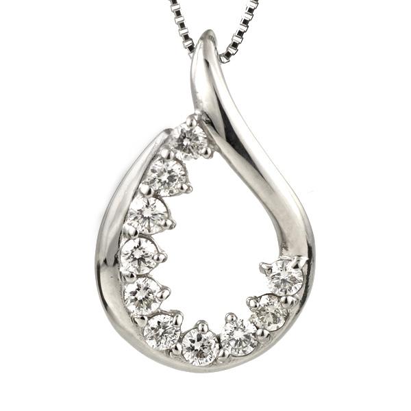 ダイヤモンド ネックレス プラチナ スイート エタニティ 10個のダイヤモンド 結婚10周年 しずく