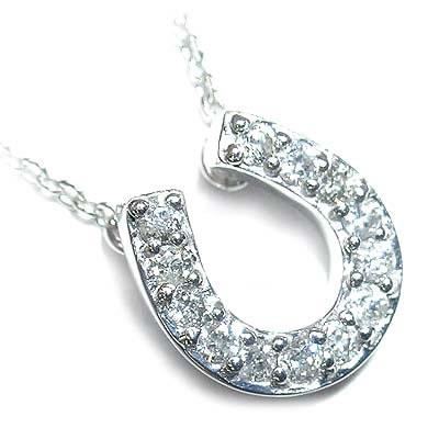( 4月誕生石 ) K18ホワイトゴールドダイヤモンドペンダントネックレス(馬蹄モチーフ) 末広 スーパーSALE