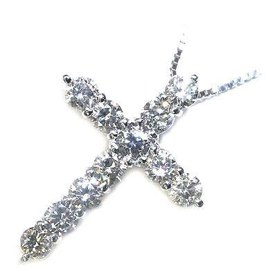 ( 4月誕生石 ) K18ホワイトゴールドダイヤモンドペンダントネックレス(クロスモチーフ) 【DEAL】