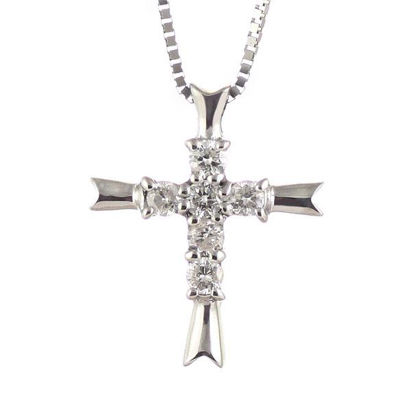 クロス ( 4月誕生石 ) K18ホワイトゴールドダイヤモンドペンダントネックレス(クロスモチーフ) 【DEAL】 末広 スーパーSALE【今だけ代引手数料無料】