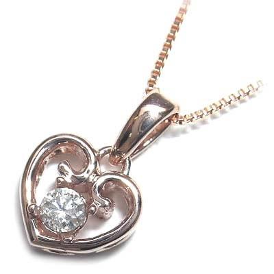 ( 4月誕生石 ) K18ピンクゴールド ダイヤモンドペンダントネックレス(ハートモチーフ)