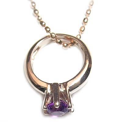 アメジスト ネックレス ネックレス メンズ ( 2月誕生石 ) K18ピンクゴールドアメジストベビーリングペンダントネックレス