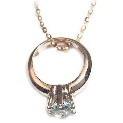 アクアマリン ネックレス ネックレス メンズ ( 3月誕生石 ) K18ピンクゴールドアクアマリンベビーリングペンダントネックレス