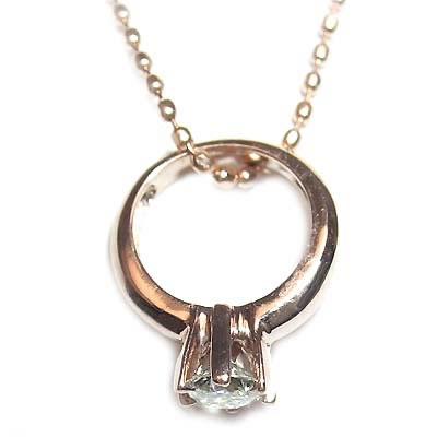ネックレス メンズ ( 4月誕生石 ) K18ピンクゴールドダイヤモンドベビーリングペンダントネックレス