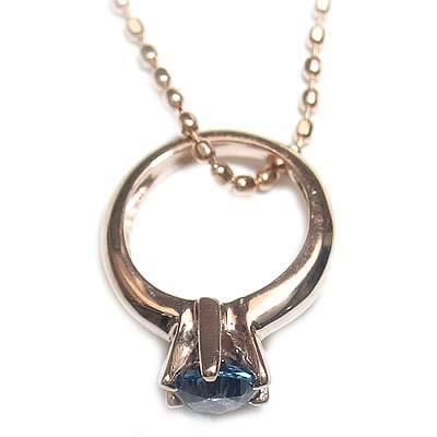 サファイア ネックレス ネックレス メンズ ( 9月誕生石 ) K18ピンクゴールドサファイアベビーリングペンダントネックレス