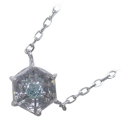 ( 4月誕生石 ) K10ホワイトゴールドブラックダイヤモンド・水晶ペンダントネックレス 【DEAL】